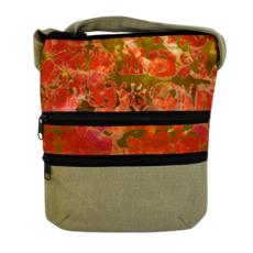 Unique Batik Batik and Canvas Three Zip Crossbody Bag