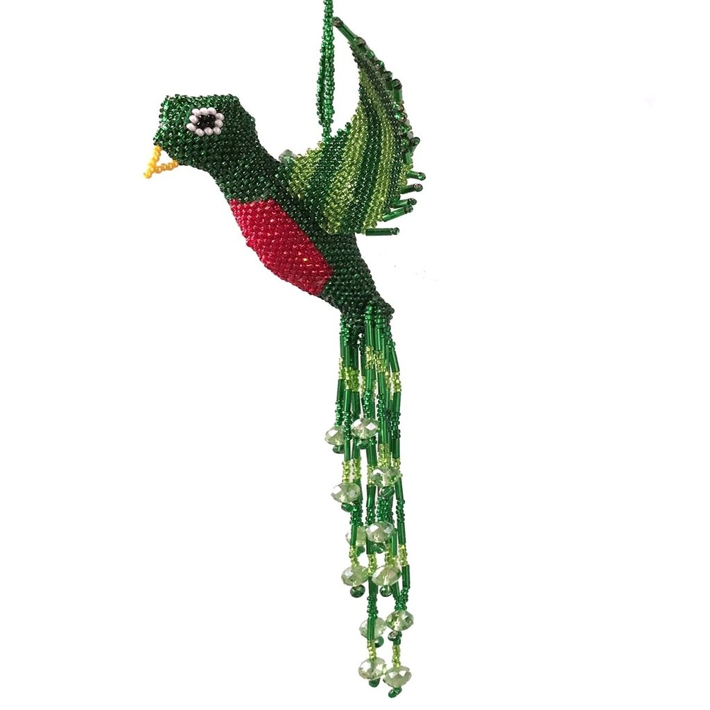 Unique Batik Beaded Flying Bird Window Ornament