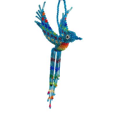 Unique Batik Beaded Ornament: Hummingbird