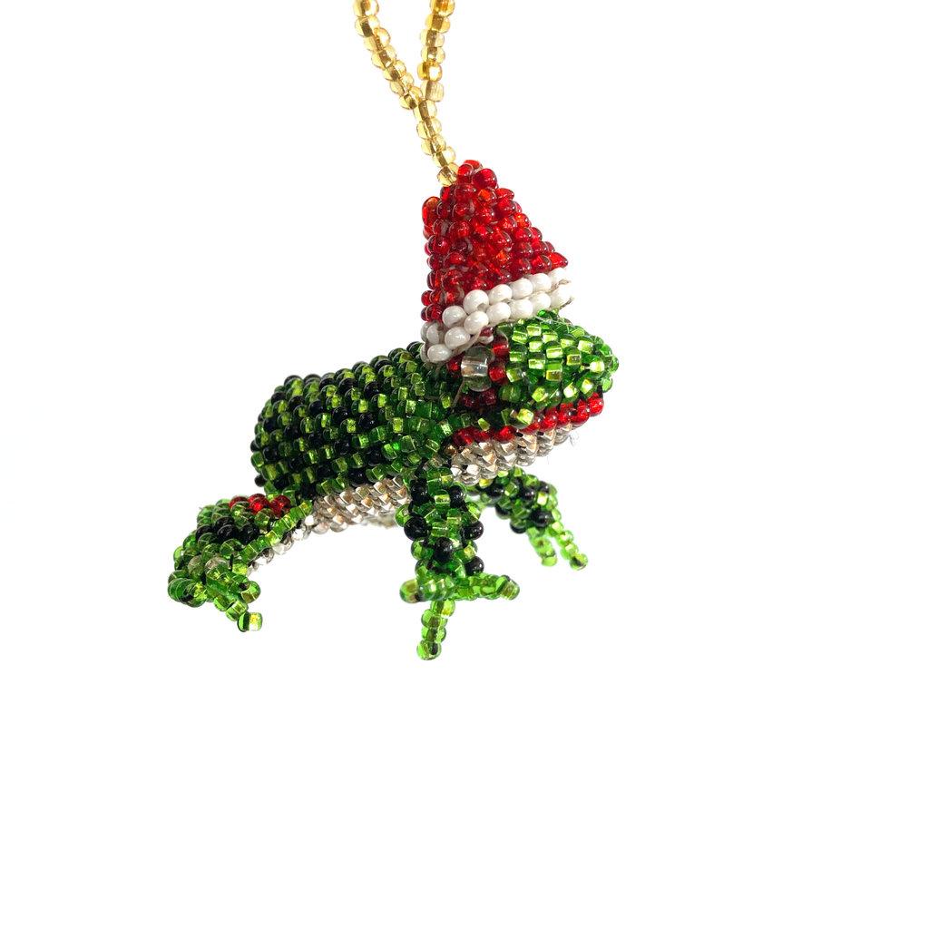 Unique Batik Beaded Ornament Frog