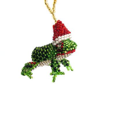 Unique Batik Beaded Ornament: Frog with Hat