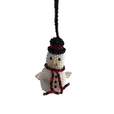 Unique Batik Beaded Ornament Snowman