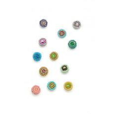 Dunitz & Co Beaded Rainbow Dots Stud Earrings