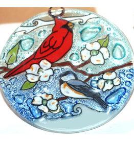 PamPeana Bird Best Friends Fused Glass Ornament