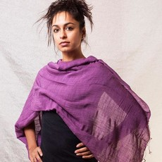 Marquet Fair Trade Black Binh Minh Silk and Cotton Shawl