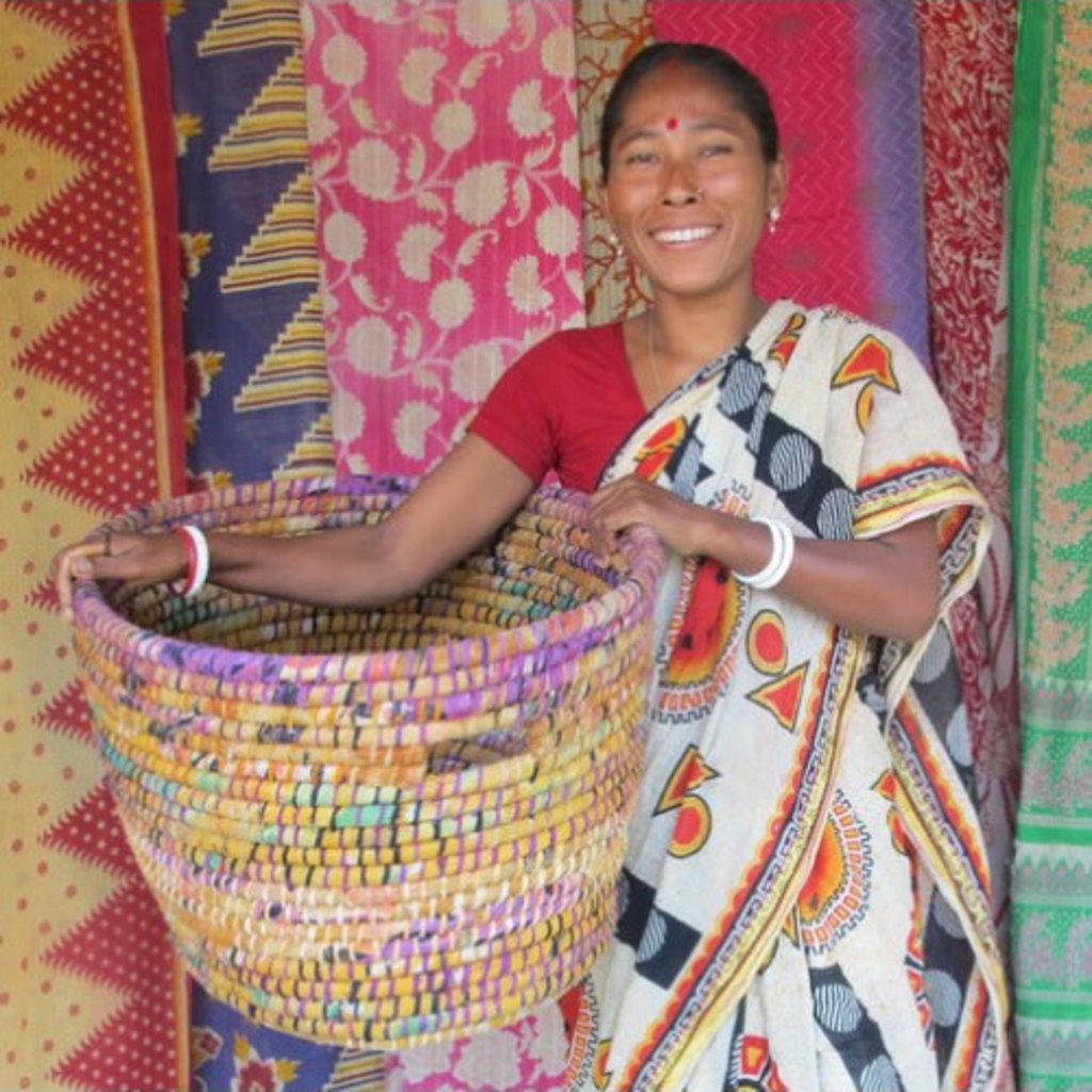 Ten Thousand Villages Blooming Bright Large Sari Flower