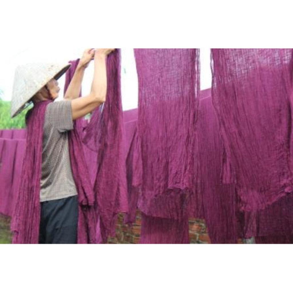 Marquet Fair Trade Blue Binh Minh Silk and Cotton Shawl