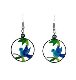 Quilling Card Blue Bird Charm Quilling Earrings