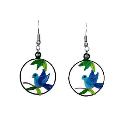 Quilling Card Blue Bird Charm Quilled Earrings