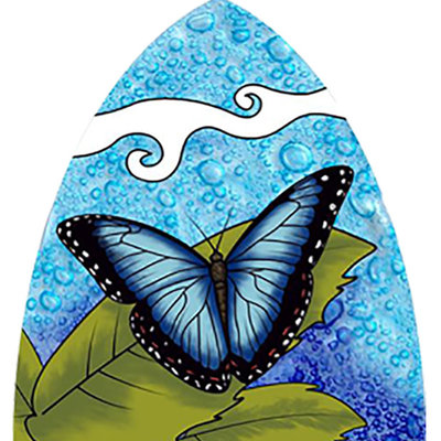 PamPeana Blue Butterfly Fused Glass Night Light