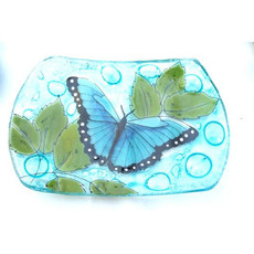 PamPeana Blue Butterfly Fused Glass Soap Dish