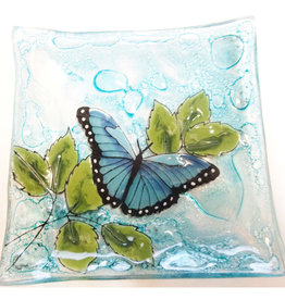 PamPeana Blue Butterfly Fused Glass Square Dish