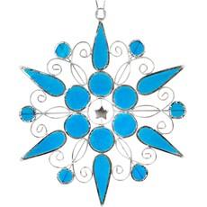 Ten Thousand Villages Blue Capiz Snowflake Ornament