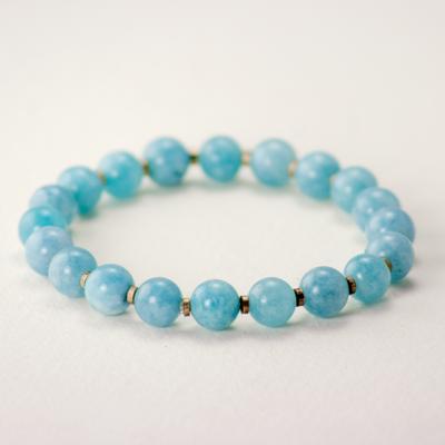 DZI Handmade Blue Chalcedony Stone Bracelet