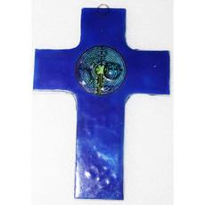PamPeana Blue Labyrinth Fused Glass Cross