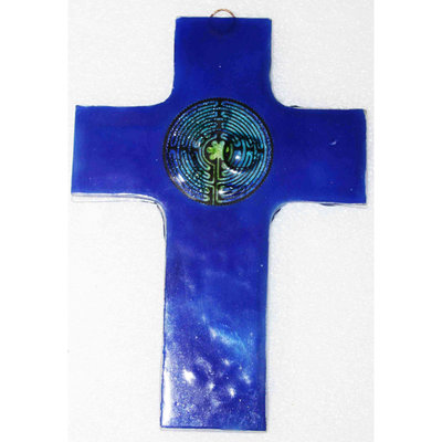 PamPeana Blue Labyrinth Fused Glass Cross