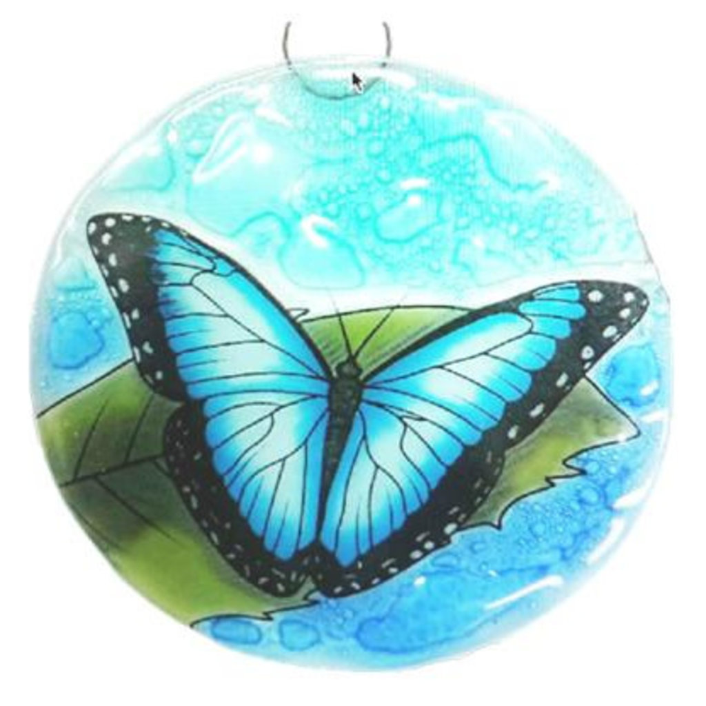 PamPeana Blue Morpho Butterfly Fused Glass Ornament