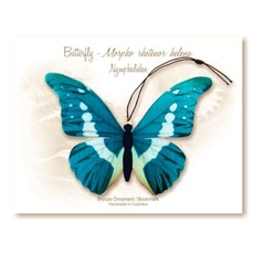 Tulia's Artisan Gallery Blue Morpho Butterfly Ornament Bookmark