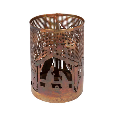 Ten Thousand Villages Bright Nativity Metal Candleholder