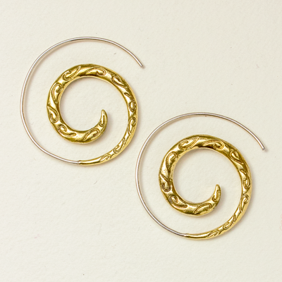 DZI Handmade Brocade Spiral Earrings