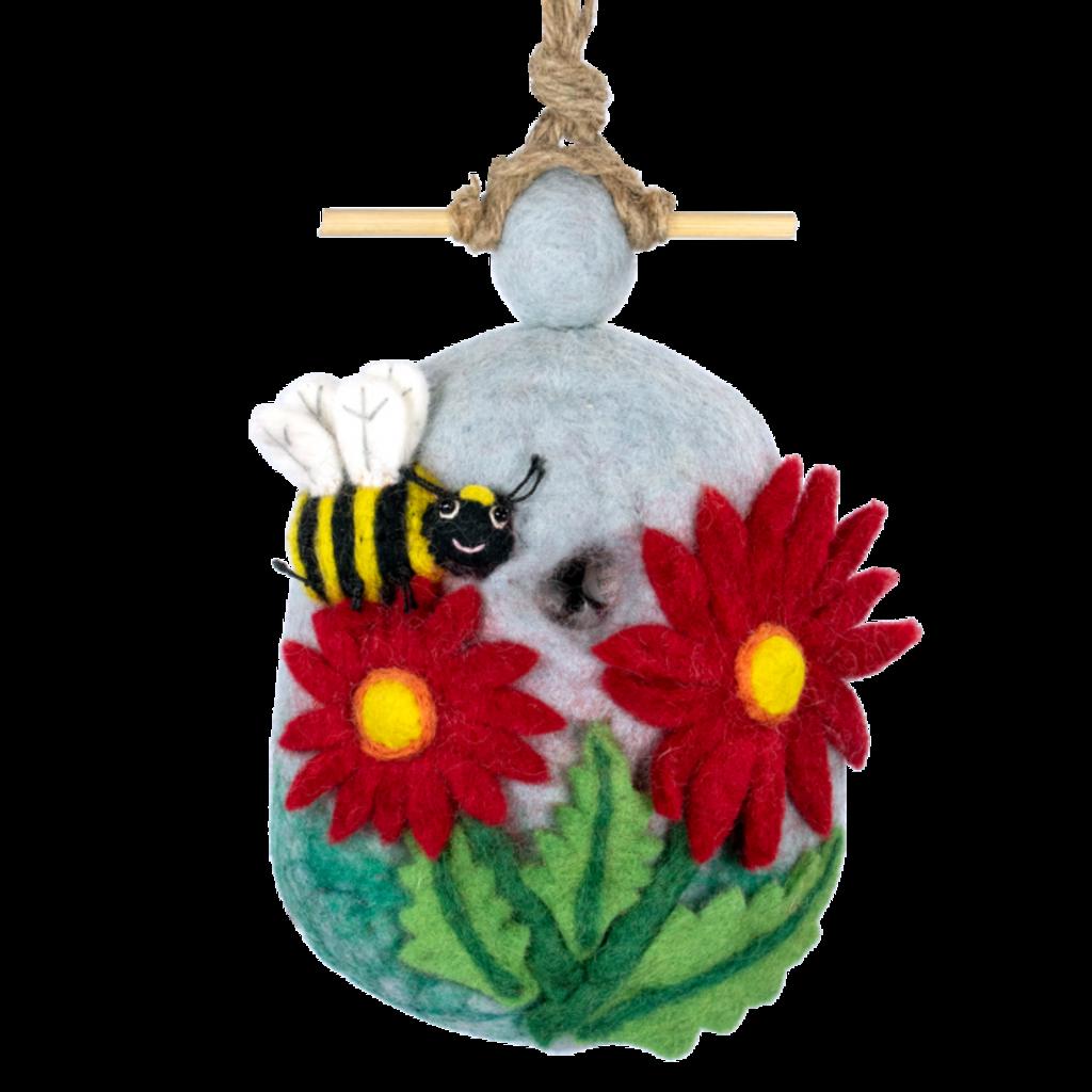 DZI Handmade Bumblebee Felt Wool Birdhouse