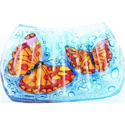 PamPeana Butterfly Fused Glass Soap Dish