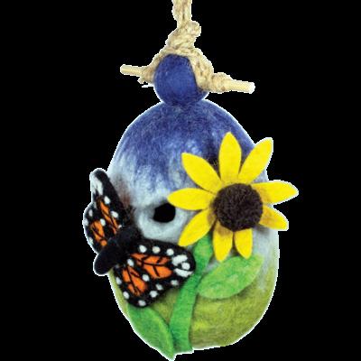 DZI Handmade Butterfly Garden Wool Felt Birdhouse