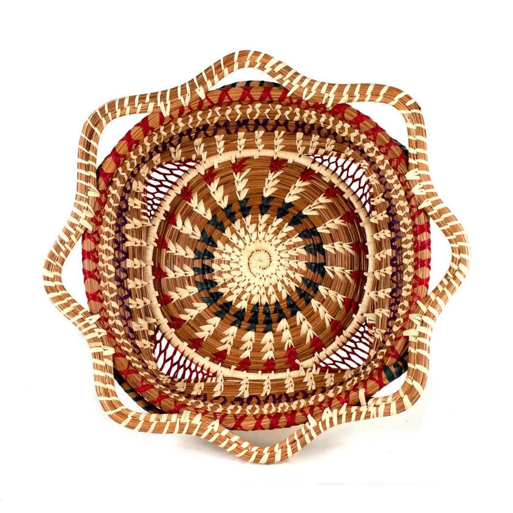 Mayan Hands Butterfly Pine Needle and Wild Grass Basket