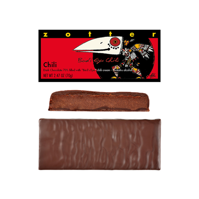 Zotter Chocolate Bird Eye Chili & Brandy Hand-Scooped Chocolate
