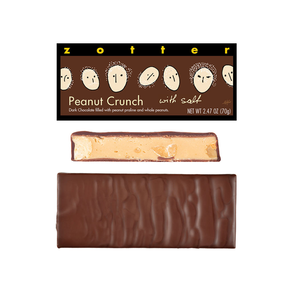 Zotter Chocolate Peanut Crunch with Salt Hand-scooped Chocolate