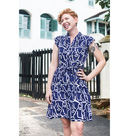 Global Mamas Navy Sisters Retro Dress