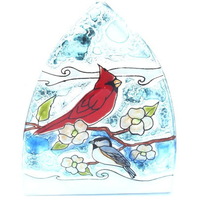 PamPeana Cardinal and Chickadee Glass Night Light