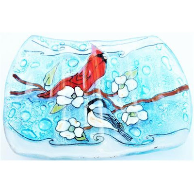 PamPeana Cardinal and Chickadee Glass Soap Dish