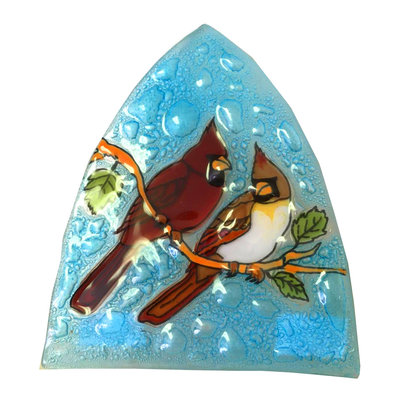 PamPeana Cardinal Couple Fused Glass Night Light
