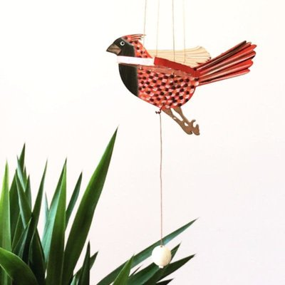 Tulia's Artisan Gallery Flying Cardinal Mobile