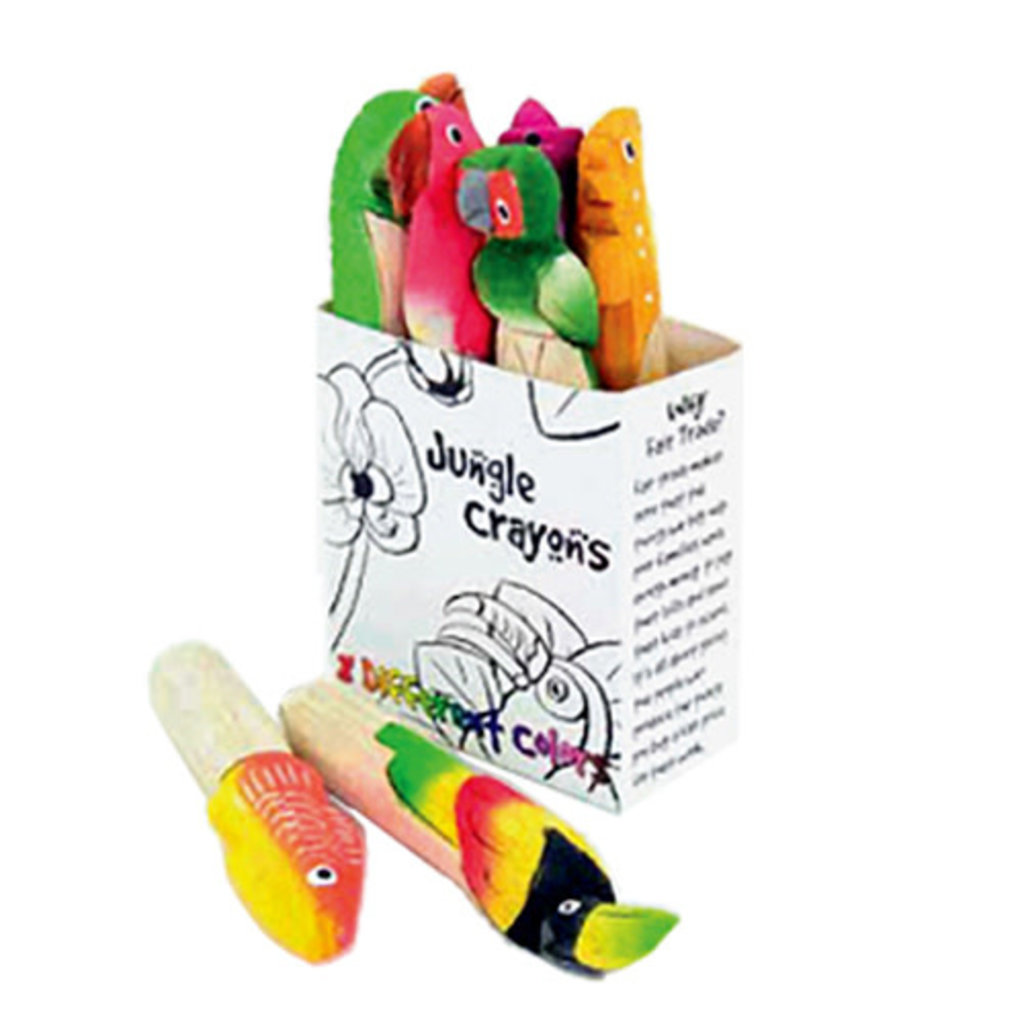 Minga Imports Carved Animal Balsa Wood Crayons - 8 Pack