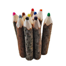 Minga Imports Carved Pine Wood Crayons - 10 Pack