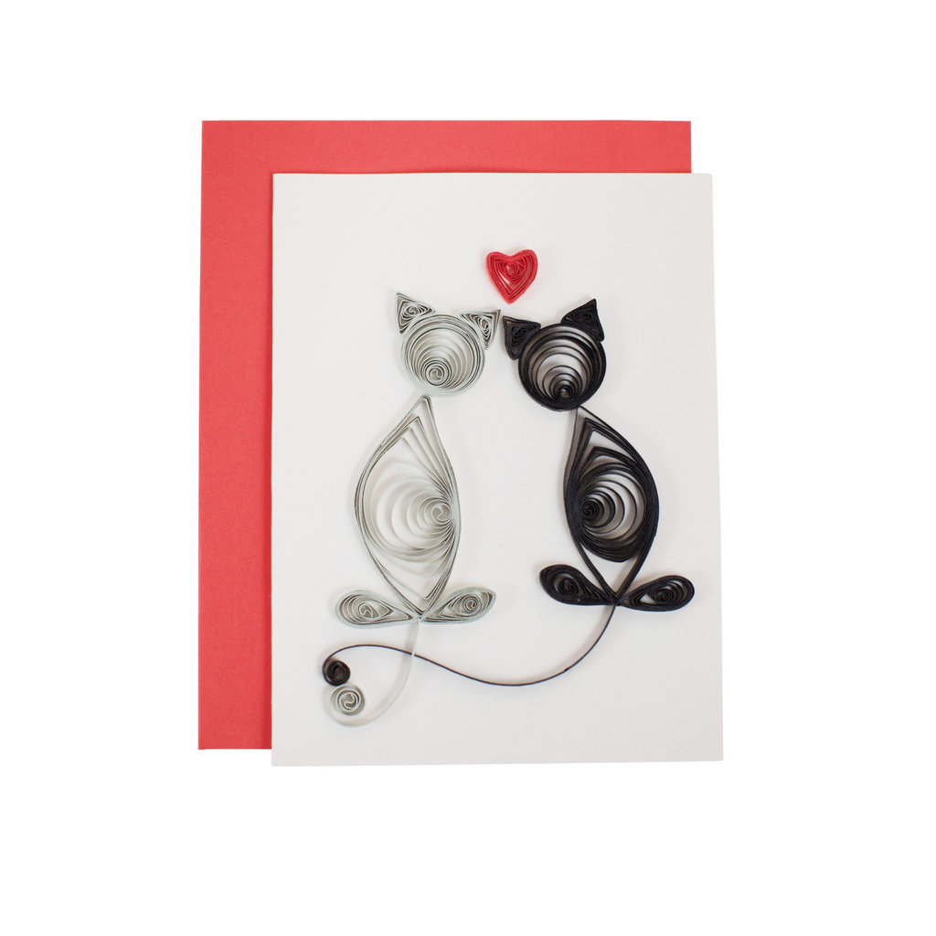 Ten Thousand Villages Cat Tales of Love Quilling Card
