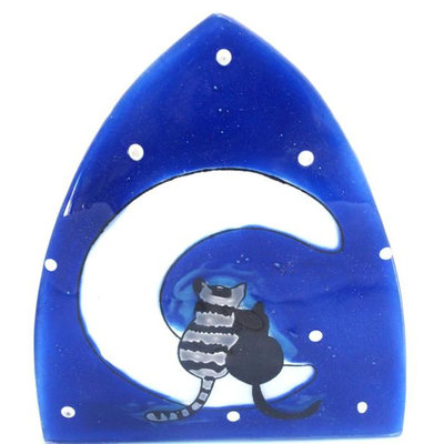 PamPeana Cats on a Moon Fused Glass Night Light