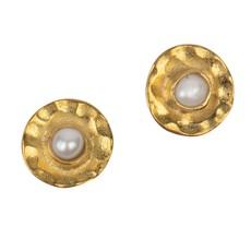 Ten Thousand Villages Centripetal Brass & Pearl Stud Earrings