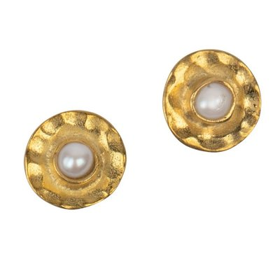 Ten Thousand Villages Centripetal Brass & Pearl Stud Earrings