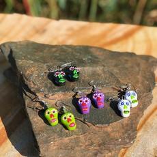 Lucia's Imports Ceramic Skull Earrings