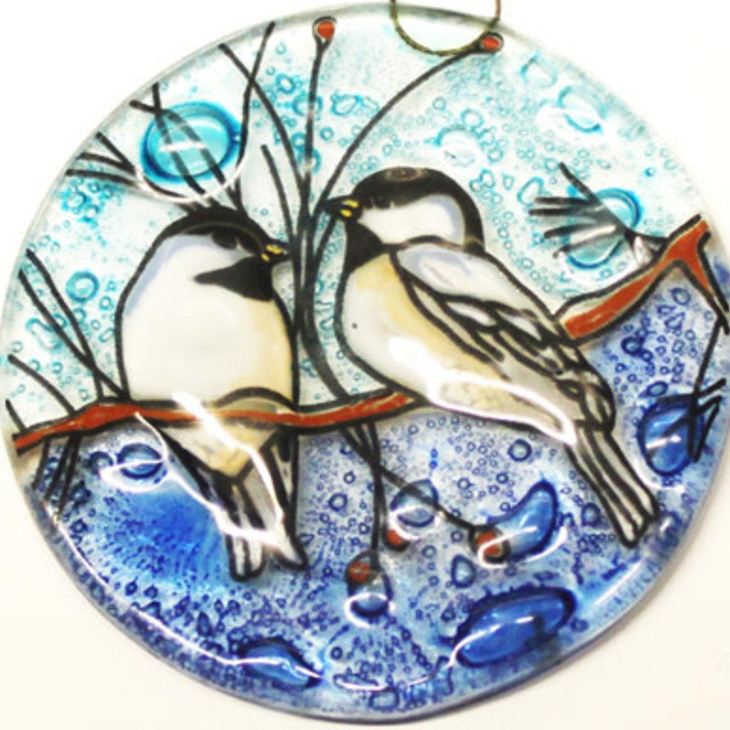 PamPeana Chickadee Fused Glass Ornament