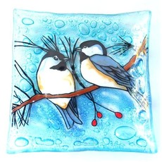 PamPeana Chickadee Fused Glass Square Dish