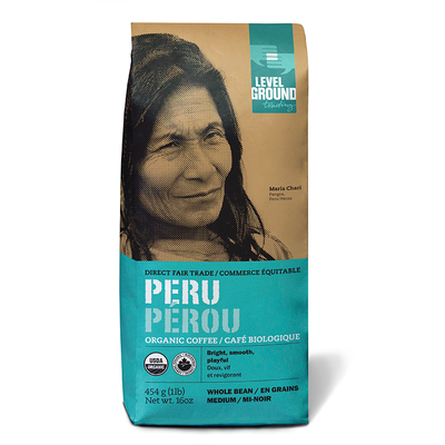 Level Ground Trading Coffee Peru Whole Bean 1LB/454G