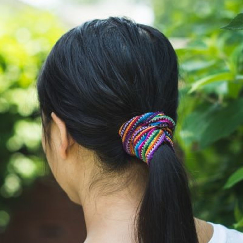 Lucia's Imports Colorful Ikat Fabric Scrunchie for Hair