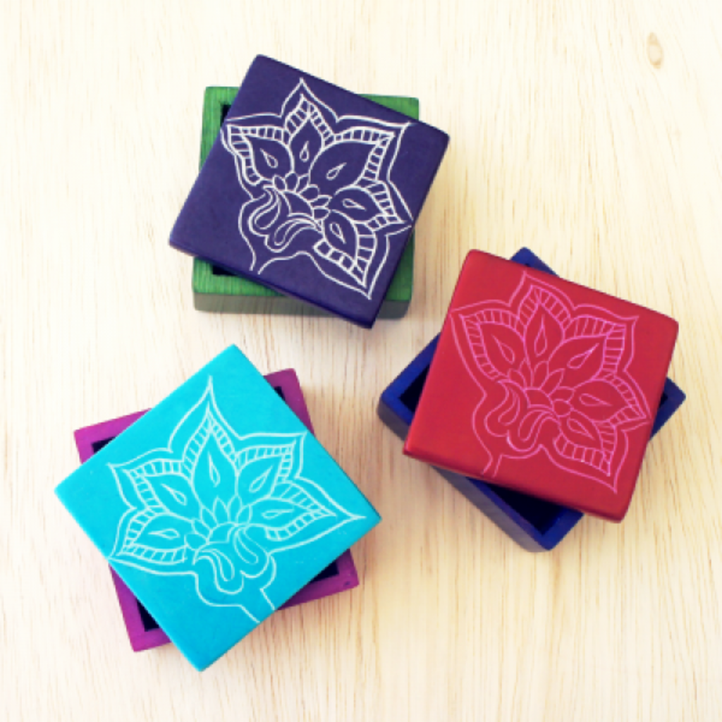 Venture Imports Colorful Soapstone Flower Box