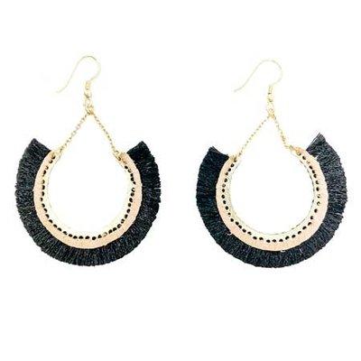 World Finds Contoured Fringe Earrings Black