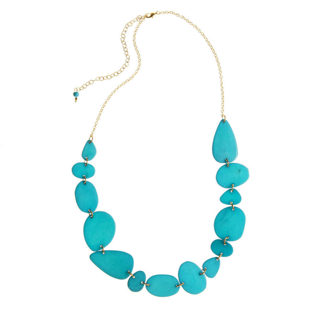 Serrv Cool Turquoise Radiance Dyed Bone Necklace