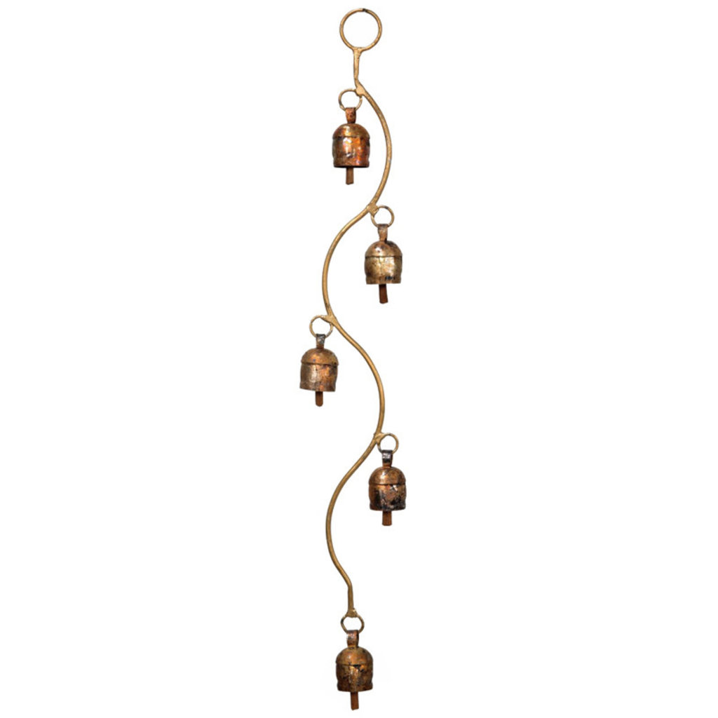 Mira Fair Trade Copper Bell Chimes with Curved Stem - 18